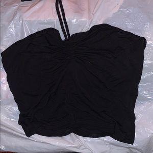 Neck tie around black crop top